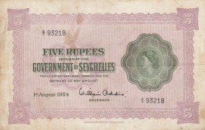 Seychelles, 5 Rupees, 1954, VF, p11a