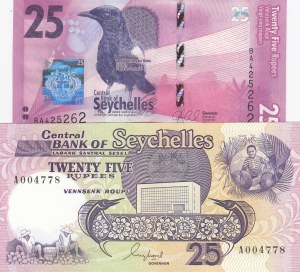 Seychelles, 25 Rupees and 25 Rupees, 1989/ 2016, UNC, p33/ p48, (Total 2 Banknotes)
