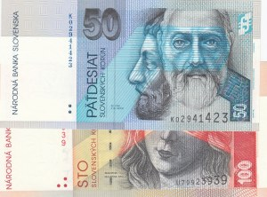 Slovakia, 50 Korun and 100 Korun, 2005/ 2004, UNC, p21e/ p44a, (Total 2 Banknotes)