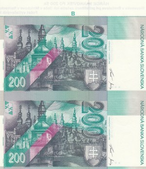 Slovakia, 200 Korun, 1995, UNC, p26, (Total 2 UNCUTTED Banknotes)