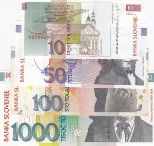 Slovenia, 10 Tolarjev, 50 Tolarjev, 100 Tolarjev and 1000 Tolarjev, UNC/ UNC/ XF/ UNC, p11a/ p13a/ p14a/ p22a, (Total 4 Banknotes)