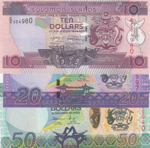 Solomon Islands, 10 Dollars, 20 Dollars and 50 Dollars, 2006/ 2006/ 2004, UNC, p27/ p28/ p29, ( Total 3 Banknotes)
