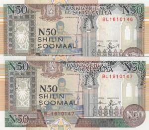 Somalia, 50 Shillings, 1991, UNC, pR2, (Total 2 banknotes)