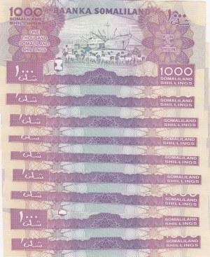 Somaliland, 1000 Shilling, 2015, UNC, p20d, (Total 9 Consecutive Banknotes)