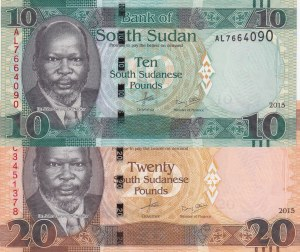 South Sudan, 10 Pounds and 20 Pounds, 2015, UNC, p12/ p13, (Total 2 Banknotes)