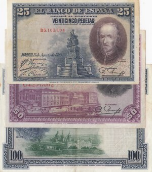 Spain, 25 Pesetas, 50 Pesetas and 100 Pesetas, 1925/1928, XF, p69/p74/p75, (Total 3 banknotes)