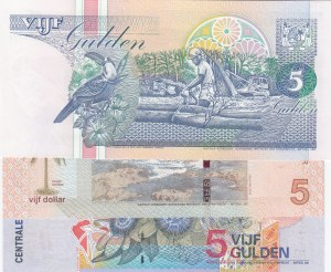 Suriname, 5 Guldens and 5 Guldens and 5 Dollars, 1998/ 2000/ 2010, UNC, p136b/ p146/ p162a, (Total 3 Banknotes)