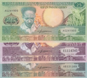 Suriname, 25 Gulden, 100 Gulden and 250 Gulden, 1988/ 1986/ 1988, UNC, (Total 3 Banknotes)
