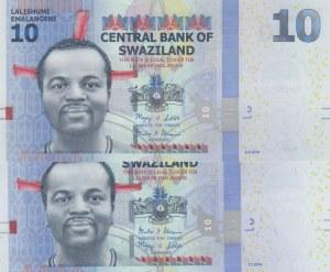 Swaziland, 10 Emalangeni, 2010/ 2014, UNC, p36a/ p36b, (Total 2 Banknotes)