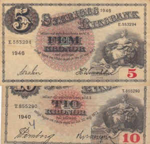 Sweden, 5 Kronor and 10 Kronor, 1940 / 1946, VF (+), p33ac / p34w, (Total 2 banknotes)
