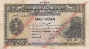 Syrie, 5 Livres, 1939, FINE, p41
