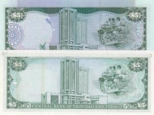 Trinidad and Tobago, 5 Dollars and 5 Dollars, 1985/ 2002, UNC, p37a/ p42b, (Total 2 Banknotes)