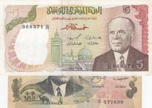 Tunisia, 1/2 Dinar and 5 Dinars, 1973 / 1980, XF, p69 /p75, (Total 2 banknotes)