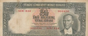 Turkey, 2 1/2 Lira, 1939, FINE, p126, 2/1. Emission