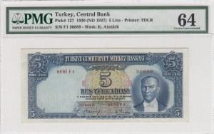 Turkey, 5 Lira, 1937, UNC, p127, 2/1. Emission