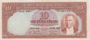 Turkey, 10 Lira, 1938, VF, p128, 2/1. Emission
