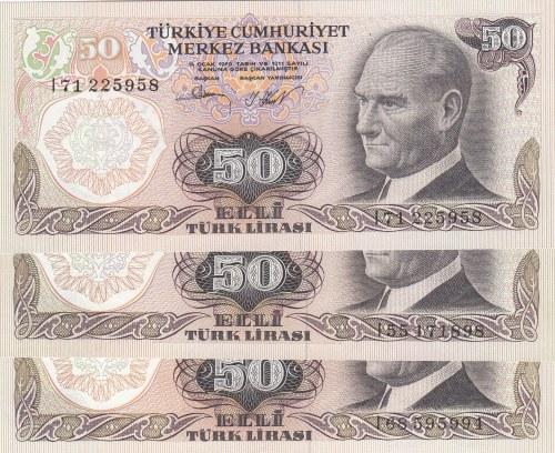 Turkey, 50 Lira (3), 1983, UNC, p187A, 6/2. Emission, (Total 3 banknotes)