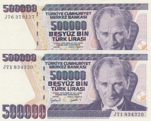 Turkey, 500.000 Lira, 1997, UNC, p212, 7/4. Emission, DIFFERENT WATERMARK, (Total 2 banknotes)