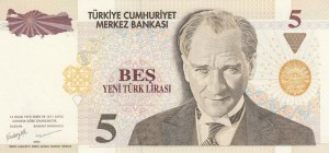 Turkey, 5 New Turkish Lira, 2005, UNC, p217, 8/1. Emission, RADAR