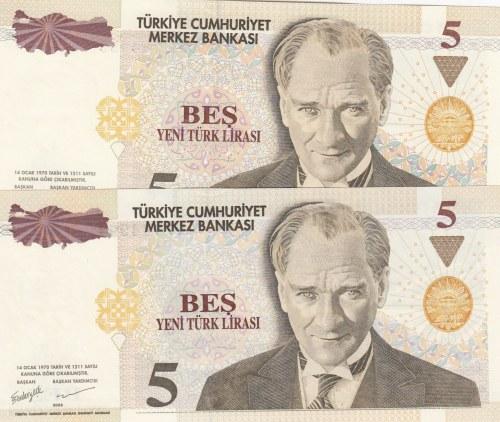 Turkey, 5 New Turkish Lira, 2005, UNC, p217, 8/1. Emission, TWIN NUMBERS, (Total 2 banknotes)