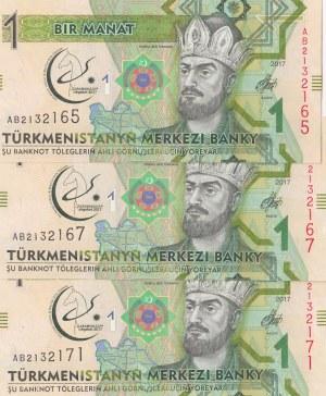 Turkmenistan, 1 Manat, 2017, UNC, p36, (Total 3 banknotes)