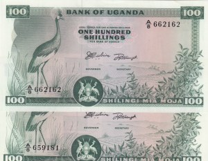 Uganda, 100 Shillings, 1966, UNC, p5a, (Total 2 Banknotes)