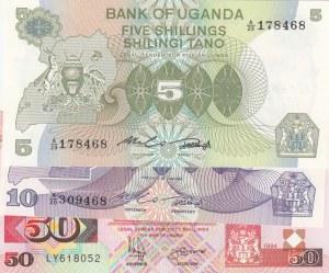 Uganda, 5 Shilings, 10 Shilings and 50 Shilings, UNC, p15/ p16/ p18a, (Total 3 Banknotes)