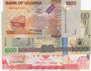 Uganda, 1000 Shillings, 1986/ 2009/ 2010, UNC, p26/ p43c/ p49a, (Total 3 Banknotes)