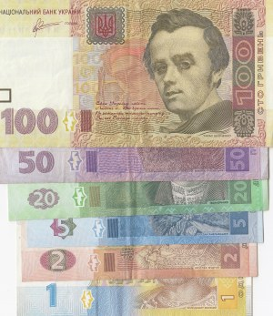 Ukraine, 1 Hryven, 2 Hryven, 5 Hryven, 20 Hryven, 50 Hryven and 100 Hryven, 2006 / 2011, XF, (Total 6 banknotes)