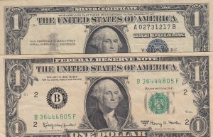 United States of America, 1 Dollar, 1957/ 1963, FINE, (Total 2 Banknotes)