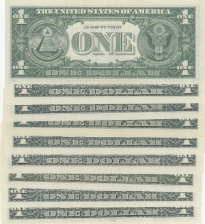 Unıted States of America, 1 Dollar (9), 1963/1988, UNC, p443/p468/p480, NICE NUMBERS, (Total 9 banknotes)
