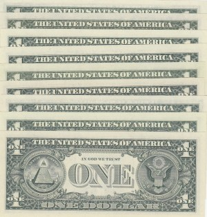 Unıted States of America, 1 Dollar (9), 1963/1977/1985/1988/1995, UNC, p443/p462/p474/p496, NICE NUMBERS, (Total 9 banknotes)