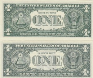 Unıted States of America, 1 Dollar (2), 1963/1969, UNC, P443/p449, VERY LOW SERIAL NUMBER and TWIN NUMBERS, (Total 2 banknotes)