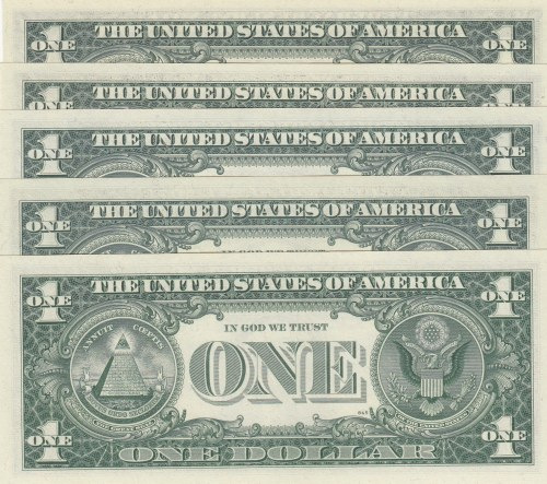 Unıted States of America, 1 Dollar (5), 1963/1969/1977, UNC, p443/p449/p462, LOW SERIAL NUMBER and TWIN NUMBERS LOT, (Total  banknotes)
