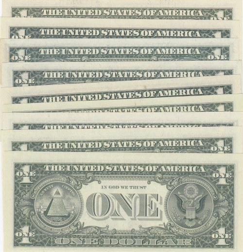Unıted States of America, 1 Dollar (9), 1969/1977/1981/1985/1988/1993, UNC, p449/p462/p468/p480/p490, NICE NUMBERS, (Total 9 banknotes)