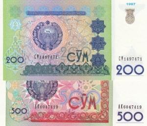 Uzbekistan, 200 Sum and 500 Sum, 1997/1999, UNC, p80/p81, (Total 2 banknotes)