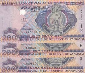 Vanuatu, 200 Vatu, 1995, UNC, p8a, (Total 3 Banknotes)