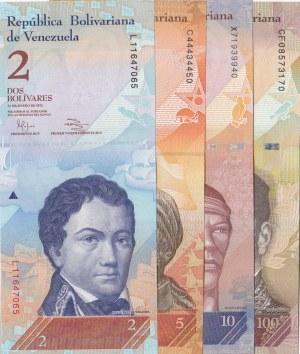 Venezuela, 2 Bolivars, 5 Bolivars, 10 Bolivars and 100 Bolivars, 2012/ 2007/ 2014/ 2015, UNC, p88e/ p89a/ p90e/ p93, (Total 4 Banknotes)