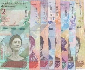 Venezuela, 2 Bolivares, 5 Bolivares, 10 Bolivares, 20 Bolivares, 50 Bolivares, 100 Bolivares, 200 Bolivares and 500 Bolivares, 2018, UNC, (Total 8 banknotes)