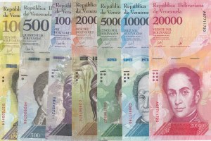 Venezuela, 10 Bolivares, 500 Bolivares, 1000 Bolivares, 2000 Bolivares, 5000 Bolivares, 10.000 Bolivares and 20.000 Bolivares, 2016/2017, UNC, (Total 7 banknotes)