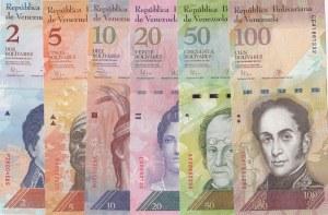 Venezuela, 2 Bolivares, 5 Bolivares, 10 Bolivares, 20 Bolivares, 50 Bolivares and100 Bolivares, 2009/2015, UNC, (Total 6 banknotes)