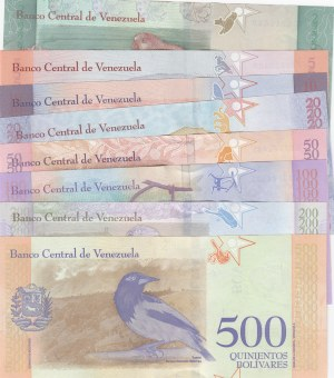 Venezuela, 2 Bolivares, 5 Bolivares, 10 Bolivares, 20 Bolivares, 50 Bolivares, 100 Bolivares, 200 Bolivares, 200 Bolivares and 500 Bolivares, 2008, UNC, (Total 8  banknotes)