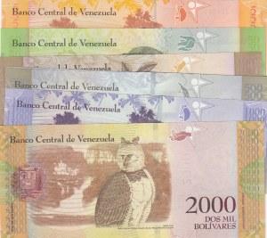 Venezuela, 5 Bolivares, 50 Bolivares, 100 Bolivares, 500 Bolivares (2), 1000 Bolivares and 2000 Bolivares, 2007/2016, UNC, (Total 7 banknotes)