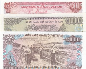 Viet Nam, 500 Dong, 1000 Dong, 2000 Don, 1988, UNC, p101/p102/p103, (Total 3 banknotes)