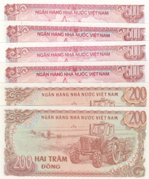 Vietnam, 200 Dong ve 500 Dong, 1987, UNC, p100a/ p101a, (Total 6 Banknotes)