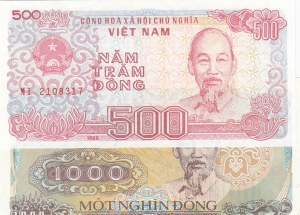 Vietnam, 500 Dong and 1000 Dong, 1988, UNC, p101a/ p102a, (Total 2 Banknotes)