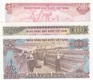 Vietnam, 500 Dong, 1000 Dong and 2000 Dong, 1988, UNC, p101a/ p106a, p107a, (Total 3 Banknotes)