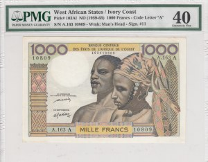 West African States, 1000 Francs, 1959-1965, XF, p103Al (PMG 40)