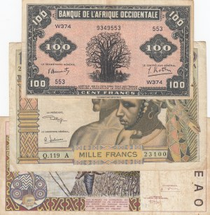 West African States, 3 Pieces Mixing Condition Banknotes