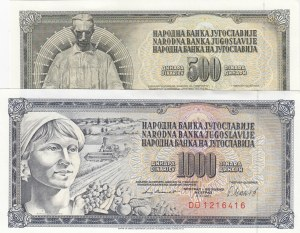 Yugoslavia, 500 Dinara and 1000 Dinara, 1981, UNC, p91 / p92, (Total 2 banknotes)